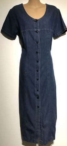 DENIM POPPER FRONT MIDI VINTAGE DRESS SIZE 12